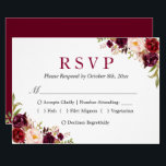 """Burgundy Marsala Red Floral Autumn Wedding RSVP Card<br><div class=""""desc"""">================= ABOUT THIS DESIGN ================= Burgundy Marsala Red Floral Autumn Wedding RSVP Card. (1) For further customization, please click the &quot;Customize&quot; button and use our design tool to modify this template. The background color and text styles are changeable. (2) If you prefer a thicker paper, you may consider to choose...</div>"""