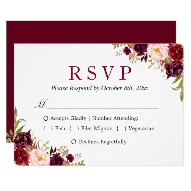 Burgundy Marsala Red Floral Autumn Wedding RSVP Card (front side)