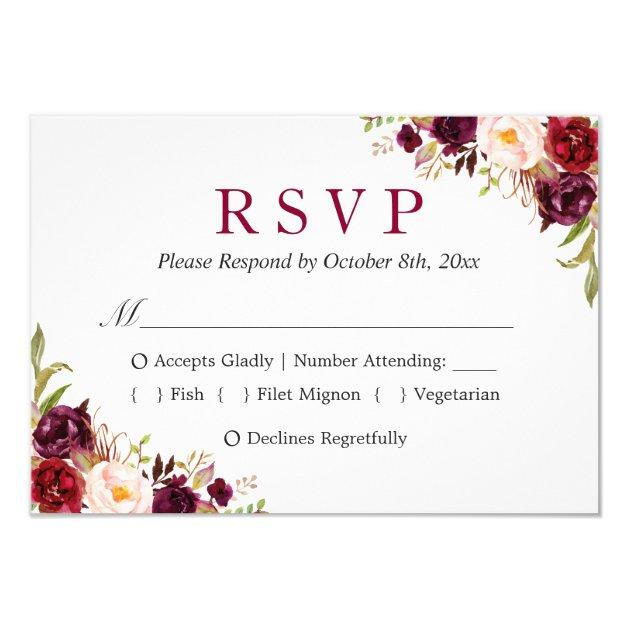 Burgundy Marsala Red Floral Autumn Wedding RSVP Card (back side)