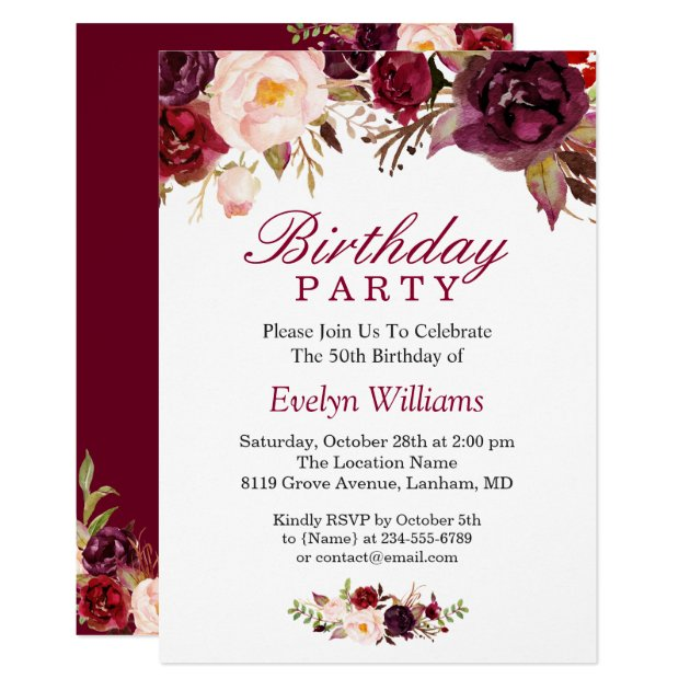 Burgundy Marsala Red Floral Birthday Party Card