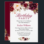 "Burgundy Marsala Red Floral Birthday Party Invitation<br><div class=""desc"">Create the perfect Birthday Party invite with this ""Burgundy Marsala Red Floral Invitation"" template. This high-quality design is easy to customize to be uniquely yours! (1) For further customization, please click the ""customize further"" link and use our design tool to modify this template. (2) If you prefer thicker papers /...</div>"
