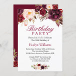 """Burgundy Marsala Red Floral Birthday Party Invitation<br><div class=""""desc"""">Create the perfect Birthday Party invite with this """"Burgundy Marsala Red Floral Invitation"""" template. This high-quality design is easy to customize to be uniquely yours! (1) For further customization, please click the """"customize further"""" link and use our design tool to modify this template. (2) If you prefer thicker papers /...</div>"""