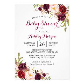 Burgundy Marsala Red Floral Boho Baby Shower Card