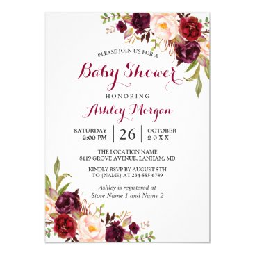 Toddler & Baby themed Burgundy Marsala Red Floral Boho Baby Shower Card