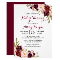 Burgundy Marsala Red Floral Boho Baby Shower Invitation