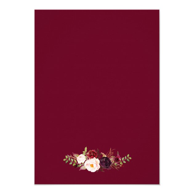 Burgundy Marsala Red Floral Chic Engagement Party Card (back side)