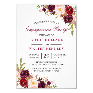 Burgundy Marsala Red Floral Chic Engagement Party Invitation