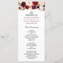 Burgundy Marsala Red Floral Chic Wedding Program