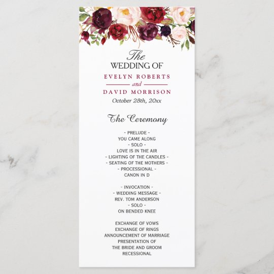 Wedding Programs: Burgundy Marsala Red Floral Chic Wedding Program
