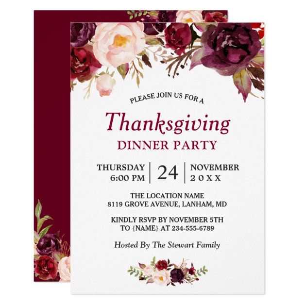 Burgundy Marsala Red Floral Thanksgiving Party Card (front side)