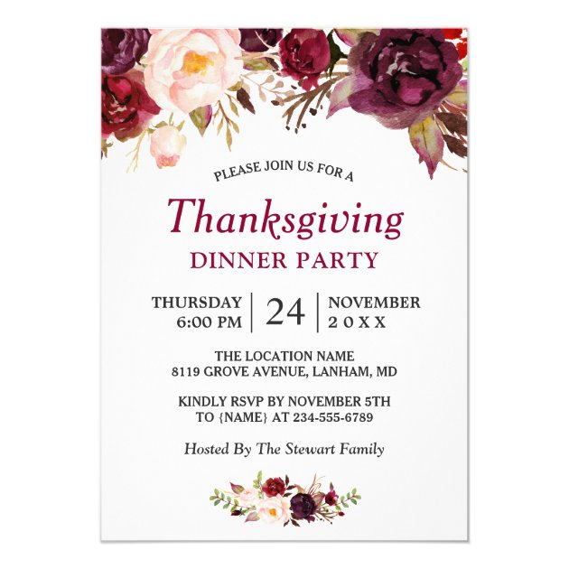Burgundy Marsala Red Floral Thanksgiving Party Card (back side)
