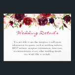 "Burgundy Marsala Red Floral Wedding Details Info Card<br><div class=""desc"">================= ABOUT THIS DESIGN ================= Burgundy Marsala Red Floral Wedding Details Info Card. (1) For further customization, please click the &quot;Customize&quot; button and use our design tool to modify this template. The background color and text styles are changeable. (2) If you prefer a thicker paper, you may consider to choose...</div>"