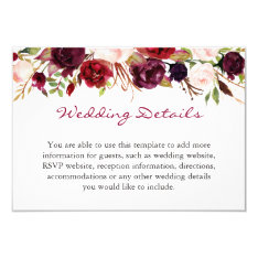 Burgundy Marsala Red Floral Wedding Details Info Card at Zazzle