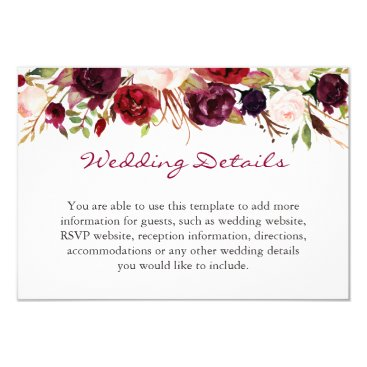 CardHunter Burgundy Marsala Red Floral Wedding Details Info Card