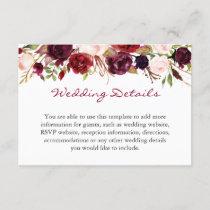 Burgundy Marsala Red Floral Wedding Details Info Enclosure Card
