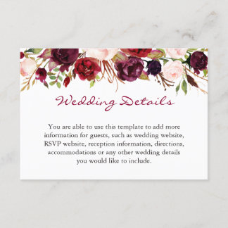 Burgundy Marsala Red Floral Wedding Details Info Enclosure Card