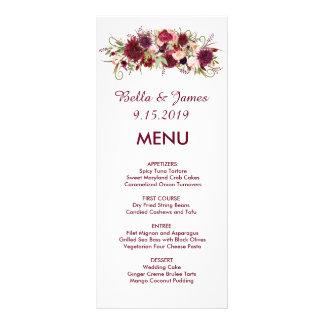Burgundy Marsala Red Floral Wedding Menu