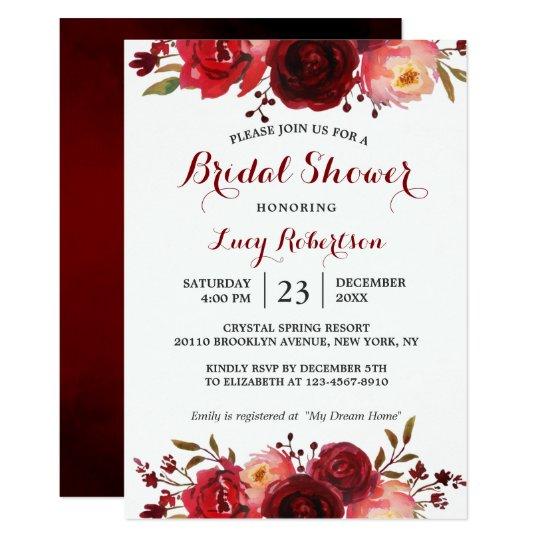 Burgundy Marsala Red Roses Fl Bridal Shower Invitation