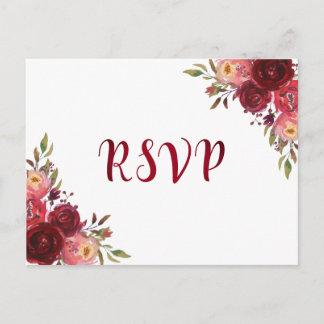 Burgundy Marsala Red Roses Floral RSVP Invitation Postcard