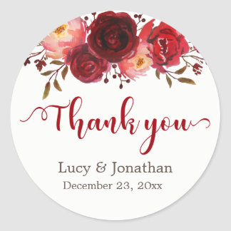 Burgundy Marsala Red Roses Floral Thank You Classic Round Sticker