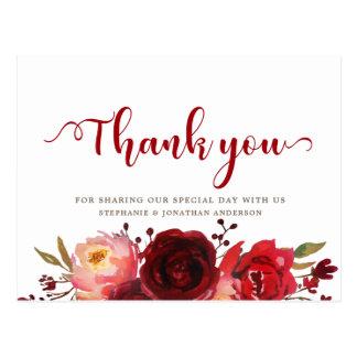 Burgundy Marsala Red Roses Floral Thank you Postcard