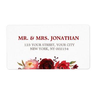 Burgundy Marsala Red Roses Floral Wedding Label