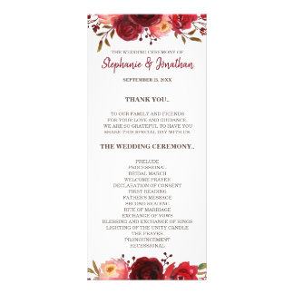 Burgundy Marsala Red Roses Floral Wedding Program