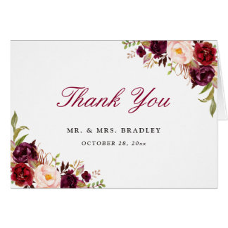 Burgundy Marsala Red Rustic Floral Thank You Card