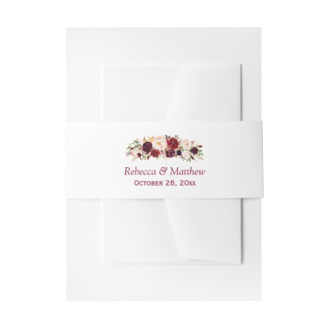 Burgundy Marsala Rustic Floral Chic Wedding Invitation Belly Band
