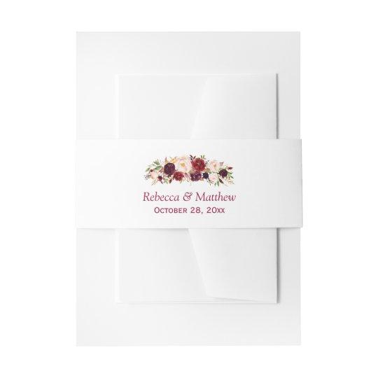 Burgundy Marsala Rustic Floral Chic Wedding Invitation Belly Band