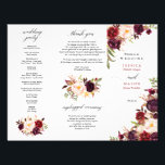 "Burgundy Marsala Tri-Fold Wedding Program<br><div class=""desc"">Use this design for a Z fold or Tri-fold Wedding Program. Perfect for longer ceremonies!</div>"