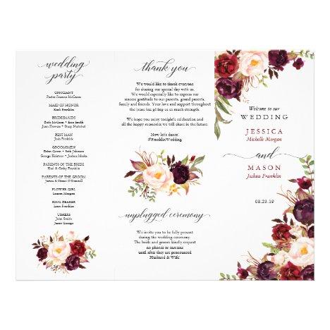 Burgundy Marsala Tri-Fold Wedding Program