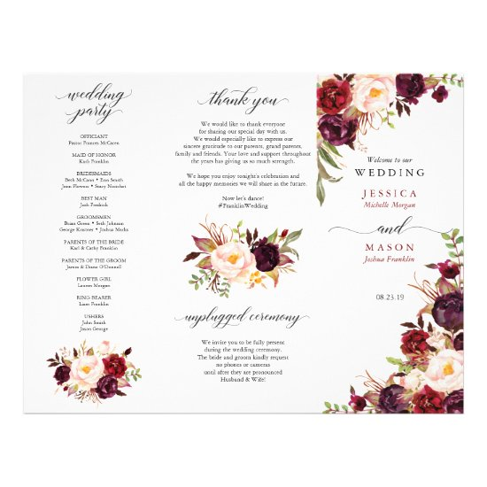 Burgundy Marsala Tri-Fold Wedding Program