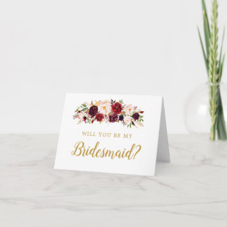 Burgundy Marsala Will You Be My Bridesmaid Card