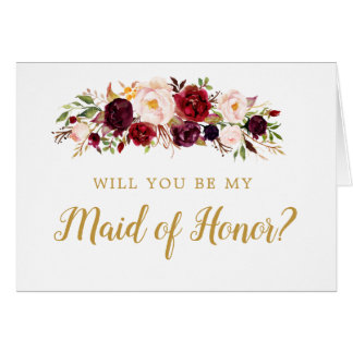 Burgundy Marsala Will You Be My Maid of Honor Card