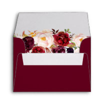 Burgundy Marsala Wine Red Floral with Address RSVP Envelope