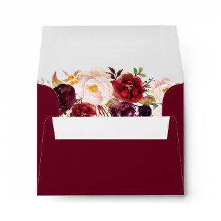 Burgundy Marsala Wine Red Floral with Address RSVP Envelope