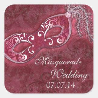Burgundy Masquerade Ball Mardi Gras Wedding Square Sticker