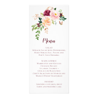 Burgundy Mauve Blush Floral Wedding Menu