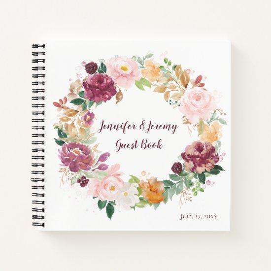 Burgundy Mauve Blush Rustic Floral Guest Book