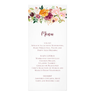 Burgundy Mauve Blush Saffron Floral Wedding Menu