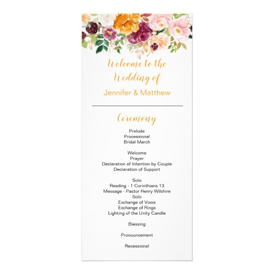 Burgundy Mauve Pink Saffron Wedding Program