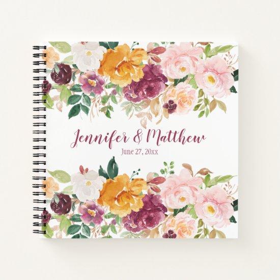 Burgundy Mauve Saffron Pink Floral Guestbook Notebook