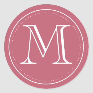 Burgundy Monogram Envelope Seal by Origami Prints Classic Round Sticker