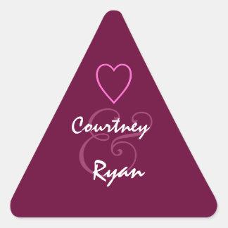 BURGUNDY   Monogram Wedding Triangle Sticker