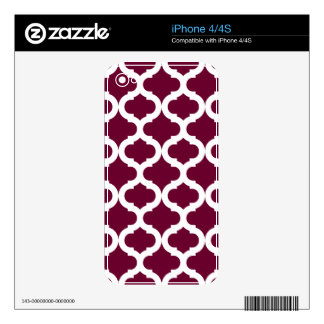 Burgundy Moroccan Pattern Skins For iPhone 4