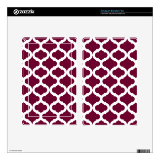 Burgundy Moroccan Pattern Skins For Kindle Fire