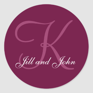 Burgundy Names  Monogram K Wedding Favor Sticker
