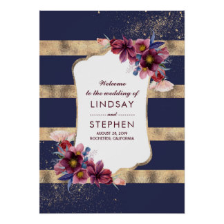 Burgundy Navy and Gold Floral Wedding Welcome Poster
