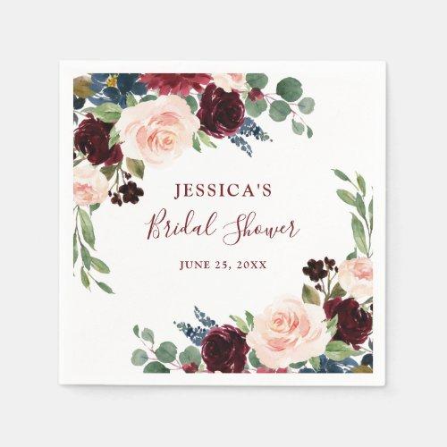 Burgundy Navy Blue Blush Floral Bridal Shower Napkins